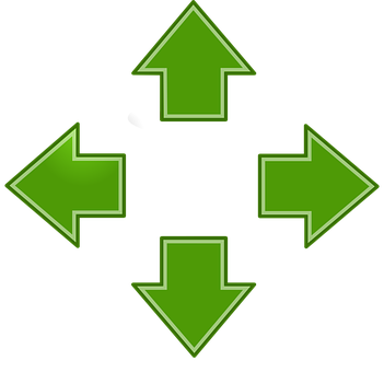 Arrows, Green, Left, Right, Up, Down, Pointing, Icon