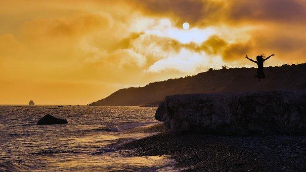 Beach, Landscape, Sun, Sunset, Sea, Rock, Nature, Sky