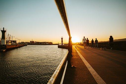 Sunset, Port, Ship, Crane, Logistics, Industry, Sky
