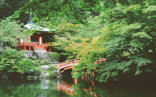 Asia, Japan, Temple, Bridge, Garden