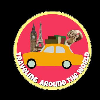 Traveling, World Journey, Car, Logo, Icon, Sticker