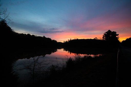Sunrise, River, Orange, Pink, Blue, Treeline