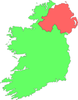 Ireland, Country, Green, Map, Northern Ireland, Red