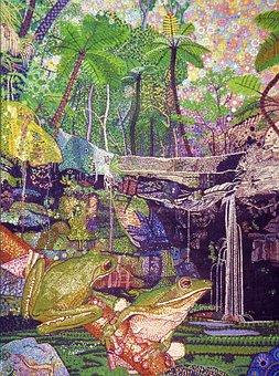 Green Frog, Gorge, Australian, Painting, Art
