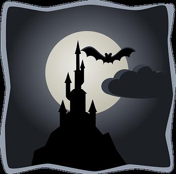 Silhouette, Castles, Nights, Full Moon, Bats, Flying