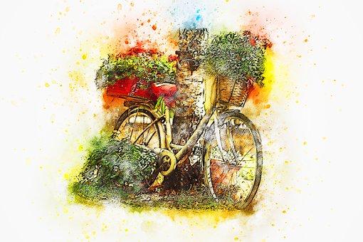 Bicycle, Flowers, Basket, Watercolor, Bike, Vintage
