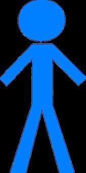 Stick Man, Blue, Figure, Person, Stickman, Stick Figure