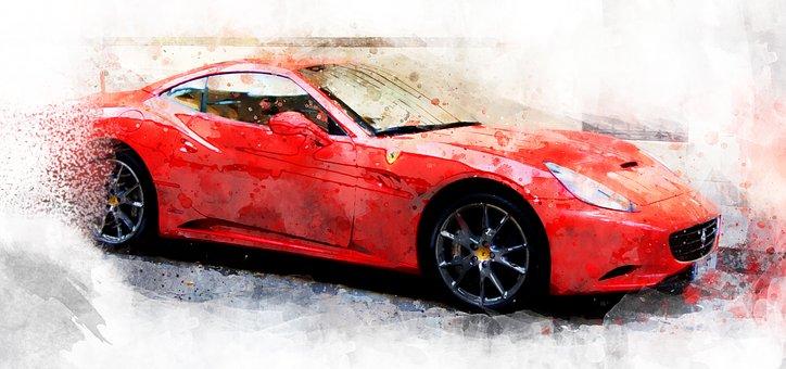Car, Watercolor, Ferrari, Automobile, Cartoon, Drawing