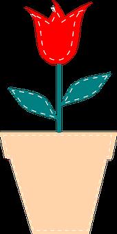 Flower, Plant, Red, Green, Leaf, Pot, Tulip, Nature