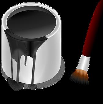Paint Pot, Pot, Color, Bucket, Painting, Paint Brush