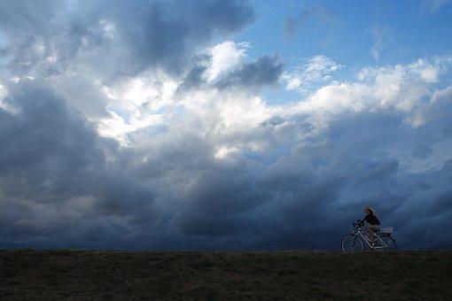 Cycling, Cycle, Sky, Cloudburst, Girl, Bike, Nature