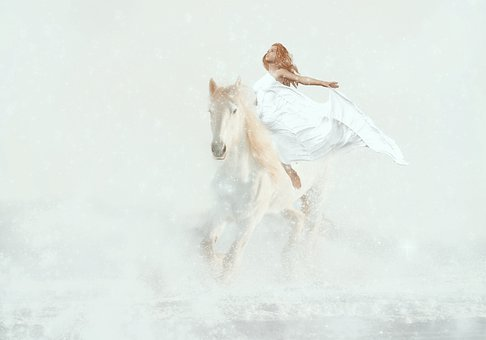 Fantasy, Horse White, Woman, Ride, Magic