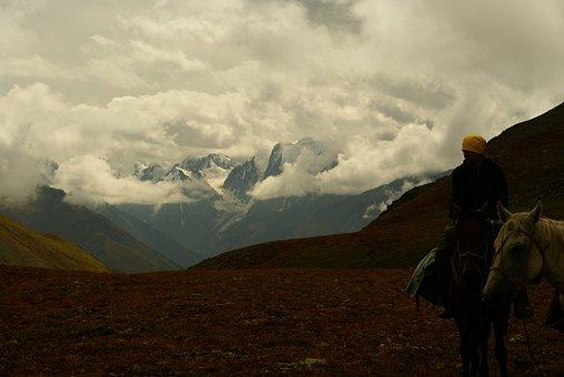 Mountains, Clouds, Rider, Mountain Altai, Sky