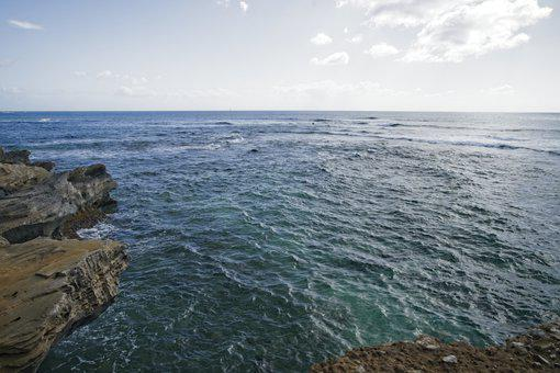 Ocean, Horizon, Cliffs, Sky, Currents, Shore, Seascape