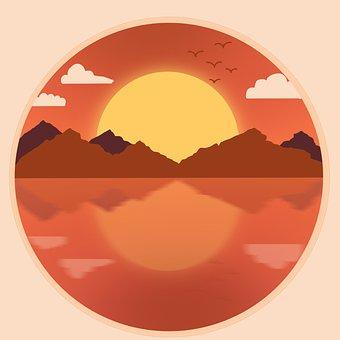 Ocean, Sun, Art, Sunset, Beach, Nature