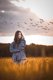 Girl, Portrait, Sunset, Eyes, Fashion