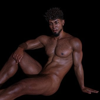 Man, Portrait, Naked, Sitting, Erotic, Sexy, Casual