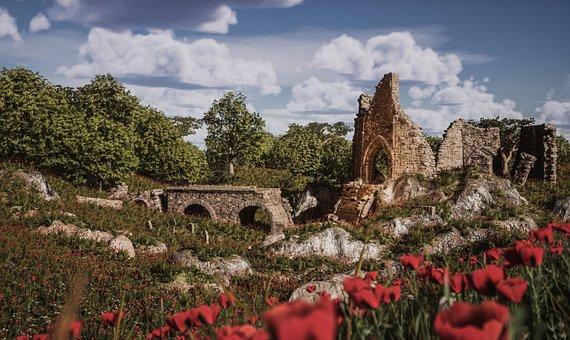 Castle, Ruins, Ruin, Fortress, Fantasy, Architecture