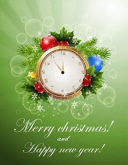New Year, Christmas, Card, Background, Greeting, Clocks