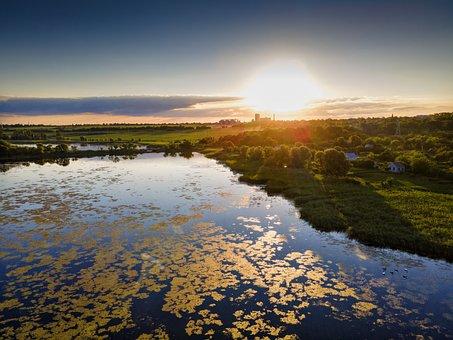 Ukraine, Novomoskovsk, Drone, River, Bridge, Park, Hdr