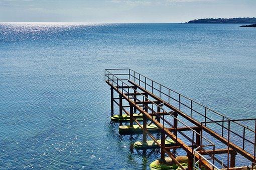 Pier, Sea, Jetty, Calm, Metal, Peaceful