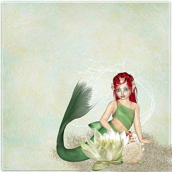 Mermaid, Fantasy, Scrapbook, Page, Background, Texture