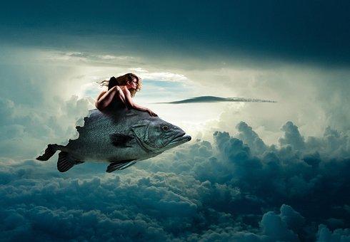 Sexy, Woman, Fish, Sky, Clouds, Fantasy, Model, Mermaid
