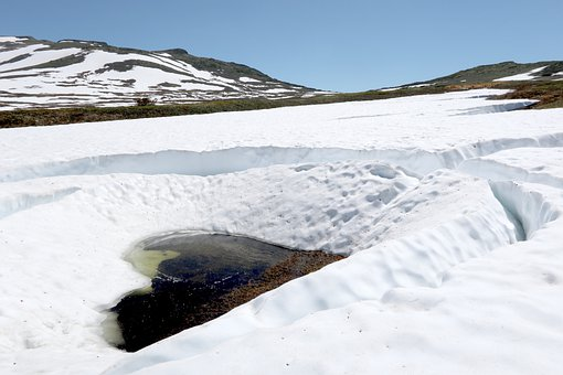 Mountains, Tundra, Summer, Snow, The Snow, Streams