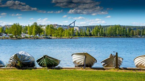 Boat, Lake, Water, Sky, Summer, City