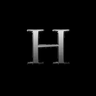 Letter H, Metal, Steel, Font, Alphabet, Text, H, Letter