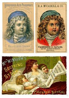 Labels, Vintage, Children, Products, Collage