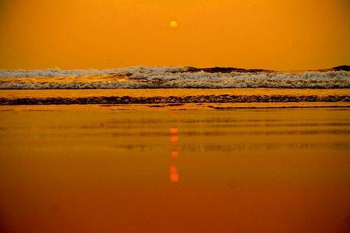 Sunset, Goa, Beach, Nature, Water, Ocean, Seascape
