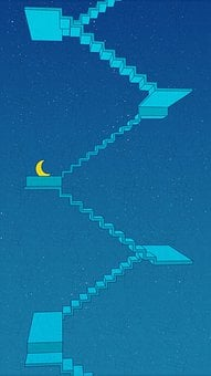 Painting, Creativity, Moon, Stairs, Sky, Maze