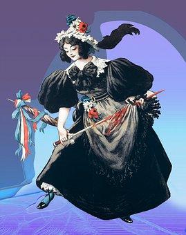 Woman, Sword, Vintage, Dress, Black, Hair, Artwork