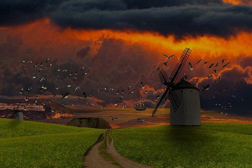 Background, Nature, Coast, Sea, Windmill, Weather
