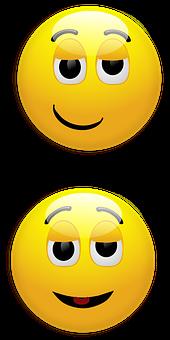 Smiley, Smirk, Relieved, Happy, Yellow, Glossy, Round