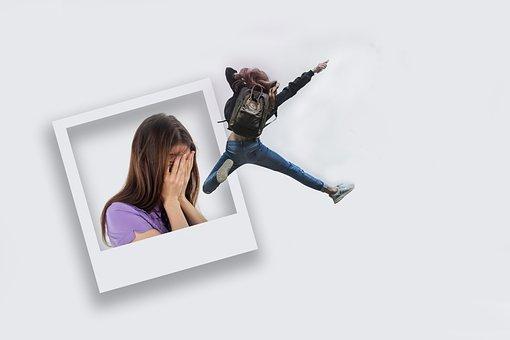 Polaroid, Joy, Despair, Sad, Stress, Woman, Person