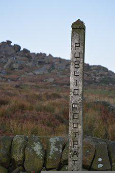 Footpath, Peak District, Sign