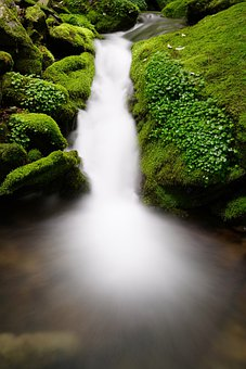 Waterfall, Moss, Korea, Mountain, Valley