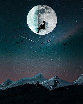 Mountain, Nights, Moon, Landscape