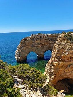 Marinha, Benagil, Lagoa, Beach, Rocks