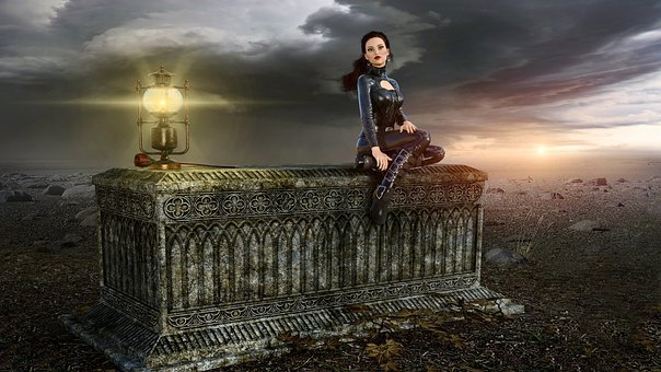 Fantasy, Girl, Lamp, Sit, Clouds, Sarcophagus, Mood