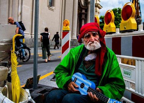 Man, Homeless, Portrait, Ukulele, Bavaria, Munich
