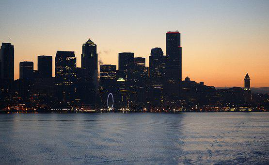 Sunrise, Waterfront, Skyline, City