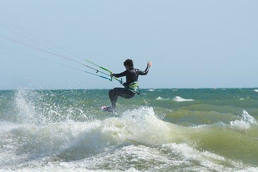 Kite Surfer, Wave, Sea, Surf, Jump