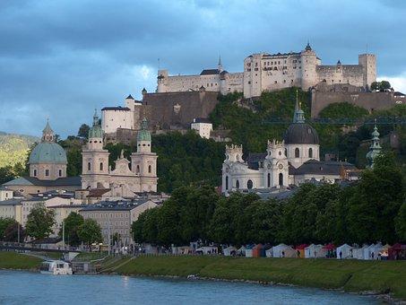 Salzburg, Old Town, City, Abendstimmung, Salzach, River