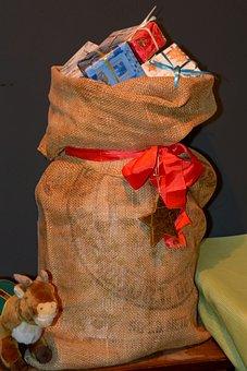 Jute Bag, Nicholas, Gifts, Christmas Decoration, Advent