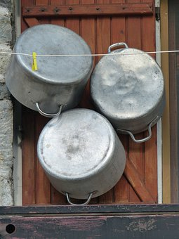 Pot, Lid, Metal, Aluminium, Alu, Old, Mount, Clean Up