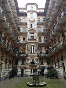 Budapest, Hungary, Courtyard, Architecture, Building