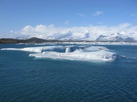 Glacier, Lagoon, Iceland, Blue Lagoon, Nature, Sky
